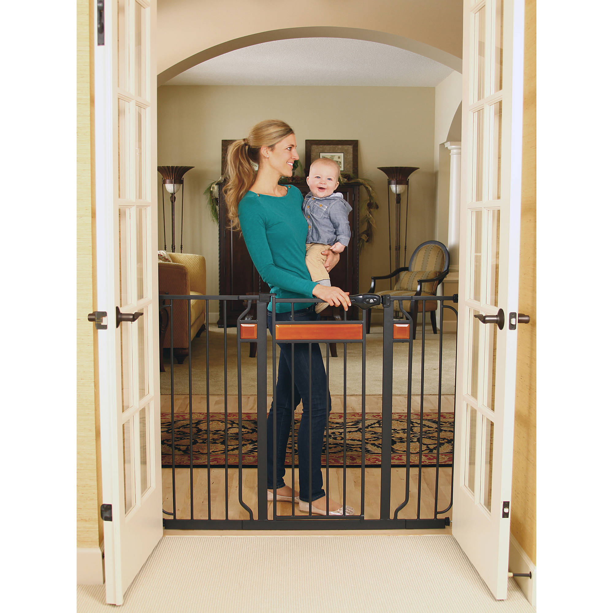 regalo home accents extra tall walk thru gate hardwood and steel