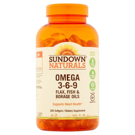 Sundown Naturals Omega 3 6 9  Flax  Fish   Borage Oils For Heart Health  200Ct