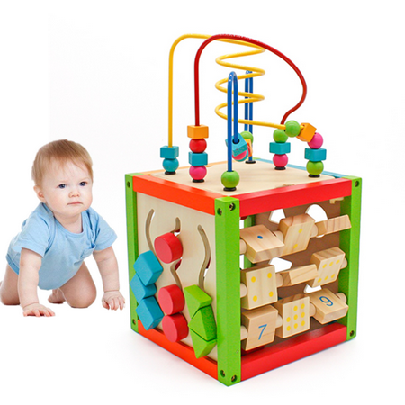 5 in 1 Wooden Activity Cube Toys Baby Educational Bead Maze Includes Shape Sorter, Abacus Counting Beads, Counting Numbers, Sliding Shapes, Removable Bead Maze for Boys Girls Kids Toddlers