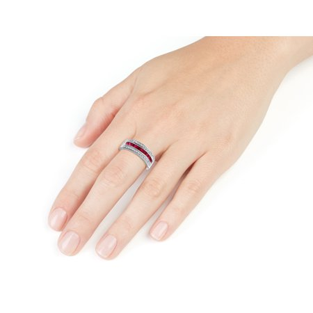 Ruby Ring with Diamonds 1/2 Carat (ctw) in 10K White Gold - image 1 de 2