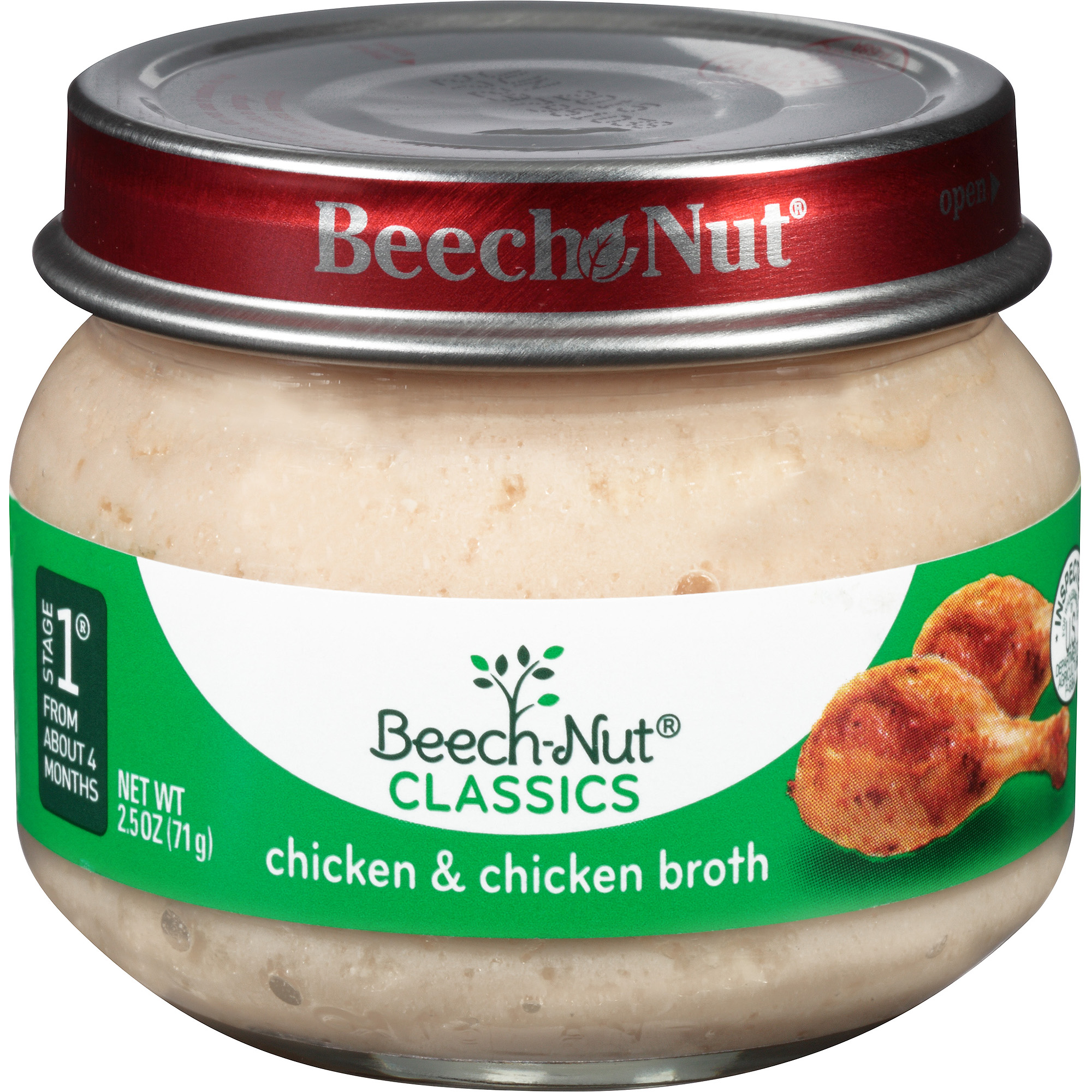 Beech-Nut Classics Stage 1 Chicken & Chicken Broth Baby Food, 2.5 oz, (Pack of 10)