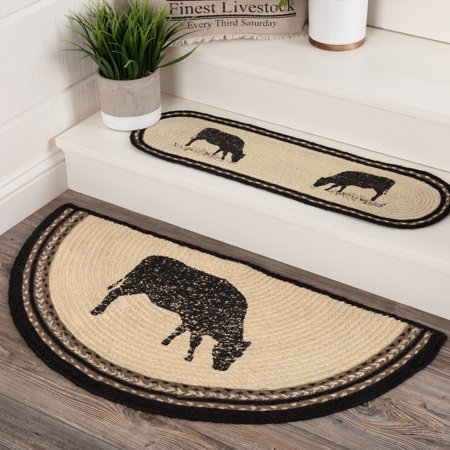 Printed Circles (Bleached White Farmhouse Flooring Miller Farm Charcoal Cow Jute Stenciled Nature Print Half Circle Accent Rug )