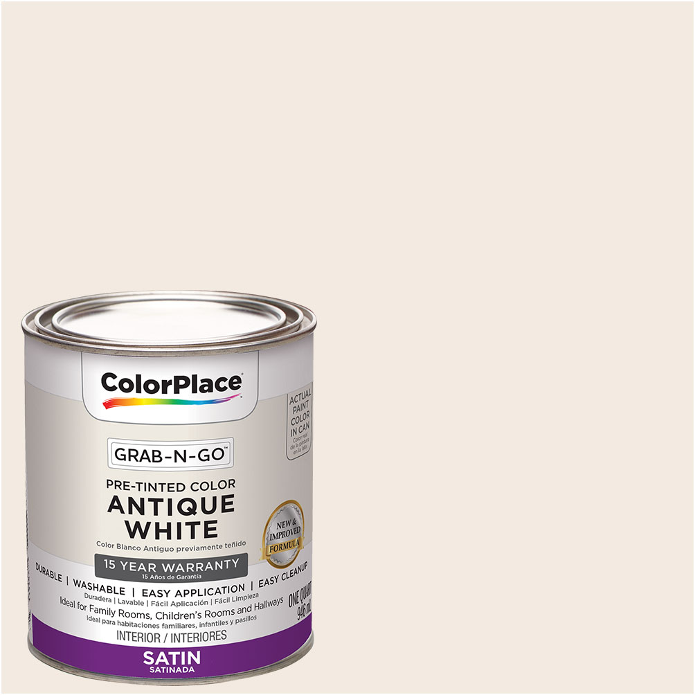 ColorPlace Pre Mixed Ready To Use, Interior Paint, Antique White, Satin Finish, 1 Quart