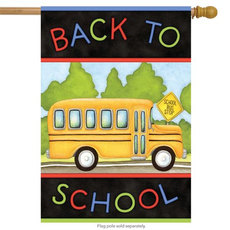 Back to School Bus Autumn House Flag Fall Briarwood Lane 28