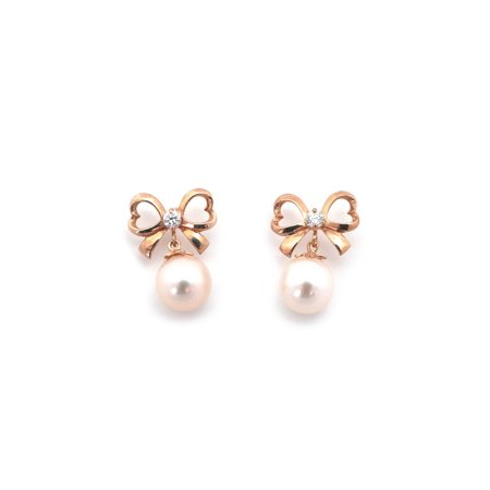 14k Yellow, White or Rose Gold White Freshwater Cultured Pearl CZ Bow Earrings with Child Safe Screwbacks Pearl Rose Earrings