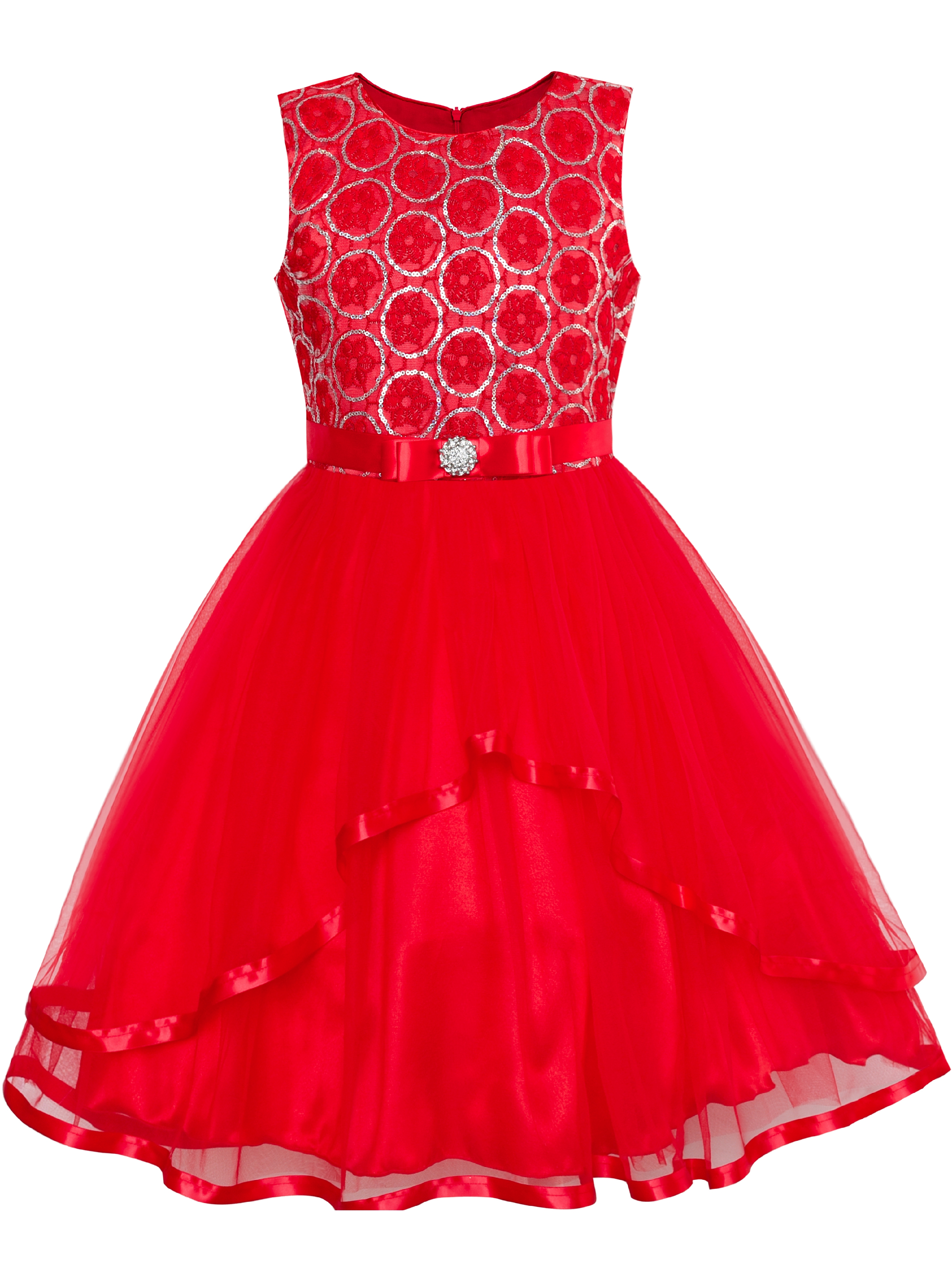Flower Girl Dress Red Sequin Mesh Red Holiday Dress 12