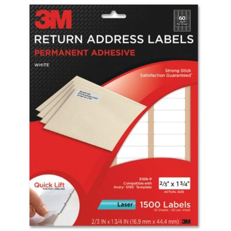 3M Permanent Adhesive Return Address Labels, 0.66 x 1.75 Inches, White, 1500 per Pack (3100-P)