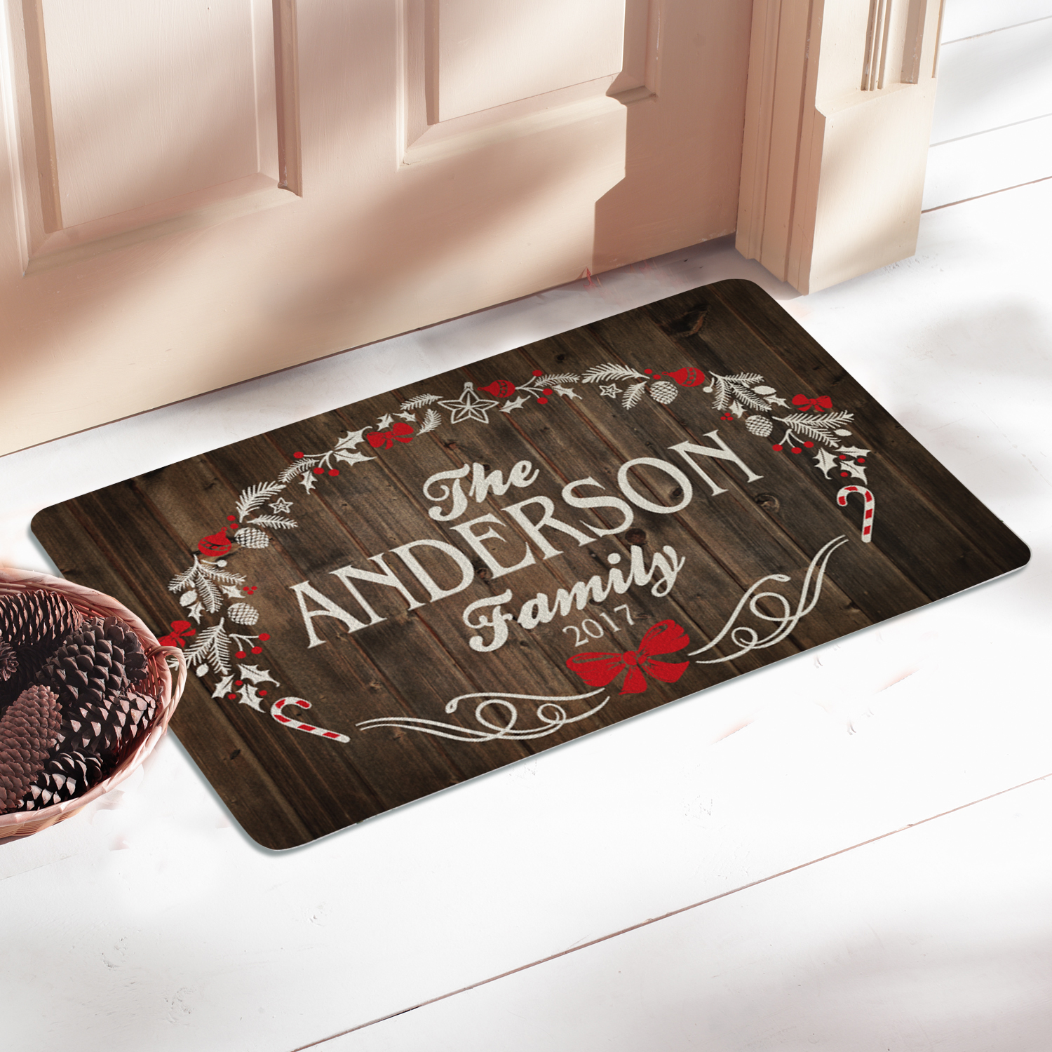Personalized Rustic Christmas Doormat