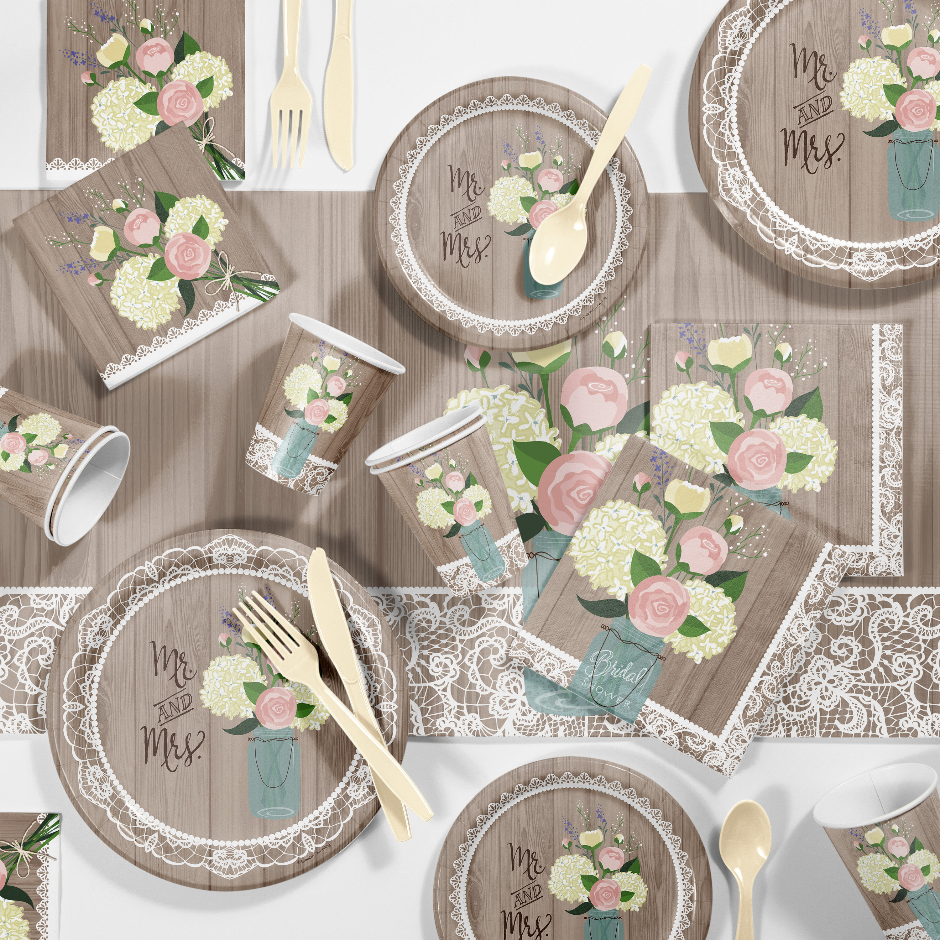 Walmart Wedding Gift Ideas: Rustic Wedding Bridal Shower Party Supplies Kit For 8
