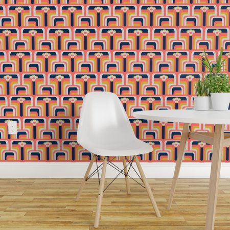 Wallpaper Roll Geometric Mod Coral Color Of The Year 1960S Sixties 24i