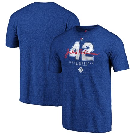 Brooklyn Dodgers Majestic 2019 Jackie Robinson Day 100th Birthday Vintage Tri-Blend T-Shirt - Royal