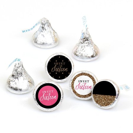 Ideas For A 16th Birthday (Chic 16th Birthday - Round Candy Sticker Favors - Fit Hershey's Kisses (108)