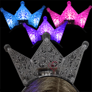 LA Wholesale Store 12 Flashing Crown Headbands ,Mixed Colors, FREE Temporary Body Tattoo!! - Wholesale Temporary Tattoos