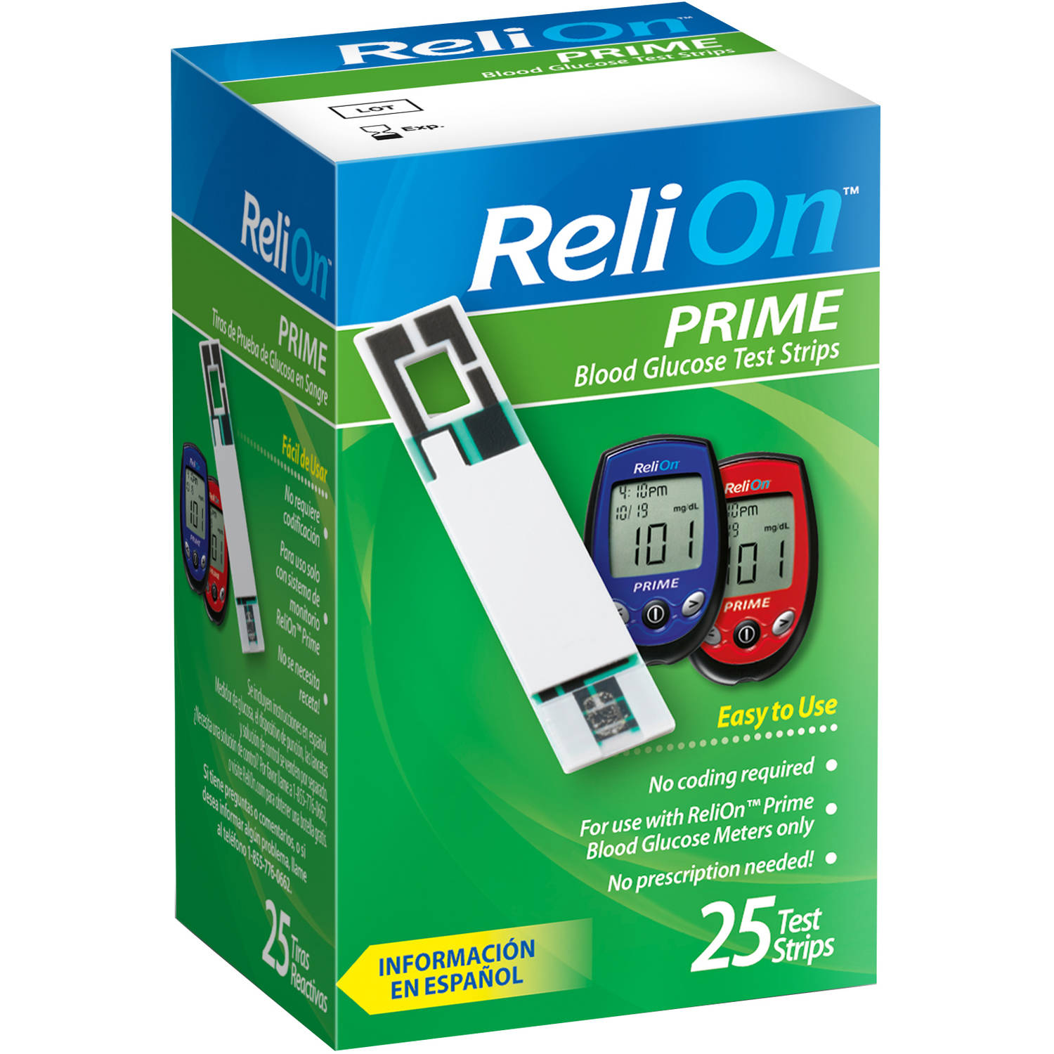 ReliOn Prime Blood Glucose Test Strips, 25 count
