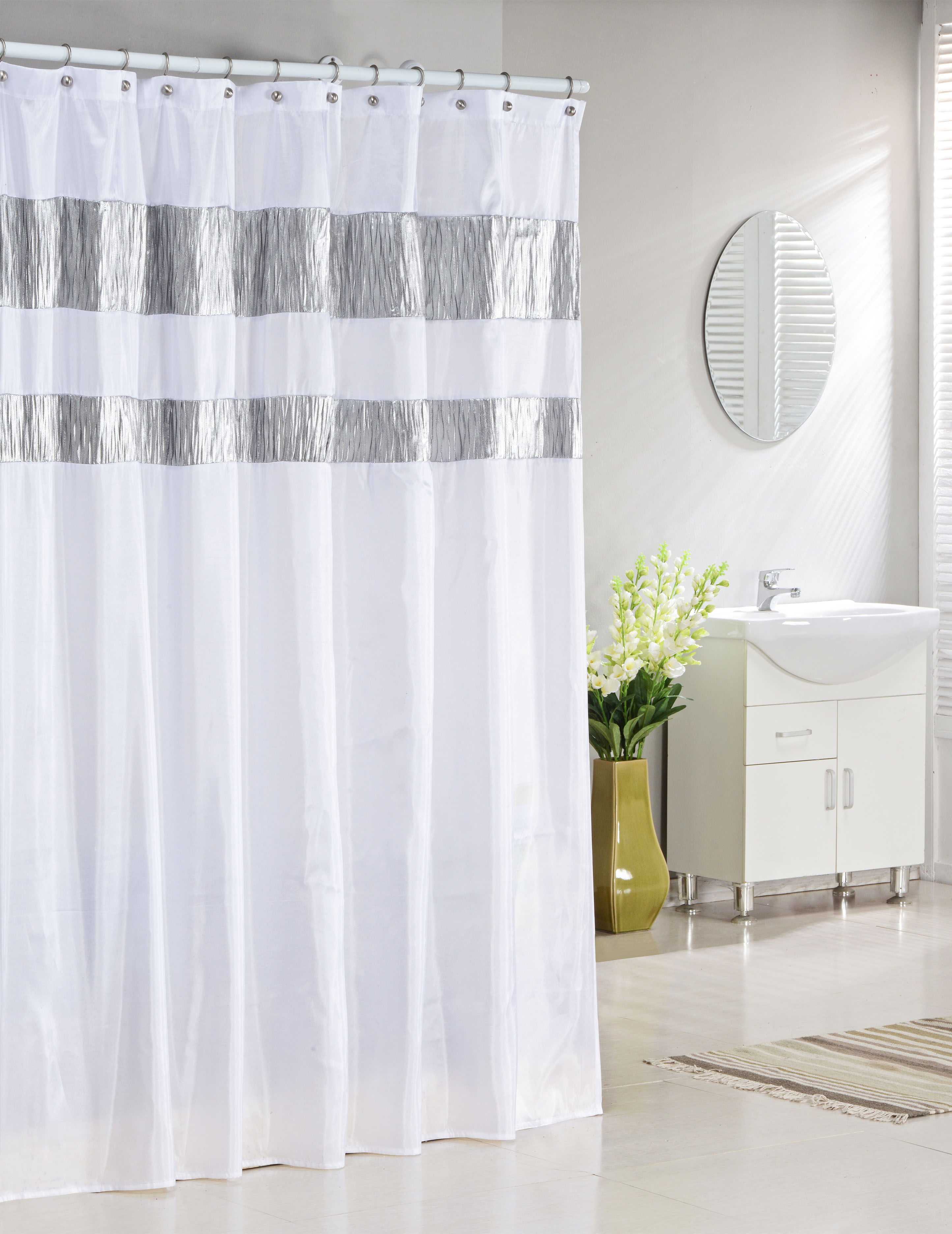 Pure White Fabric Shower Curtain