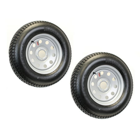 2-Pack Mounted Trailer Tire On Rim 205/75D-15 Modular Silver 5H Wheel 5 (Filler Mount Rim)