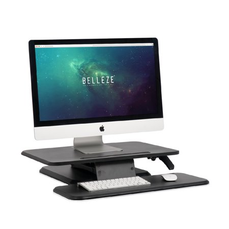 BELLEZE Sit Stand Desk Converter Ergonomic Height Adjustable Tabletop  Standing Desk Gas Spring Monitor Riser