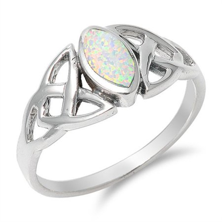 Sterling Silver Women's White Simulated Opal Celtic Knot Marquise Ring (Sizes 4-10) (Ring Size -