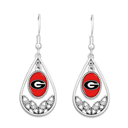 Georgia Bulldogs Logo Tear Drop Hoop Earrings with Clear - Large Teardrop Hoop