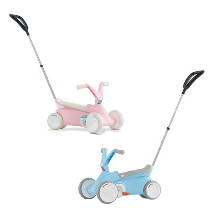 BERG Toys Pink and Blue GO2 2 in 1 Toddler Push and Pedal Small Go Karts Pair