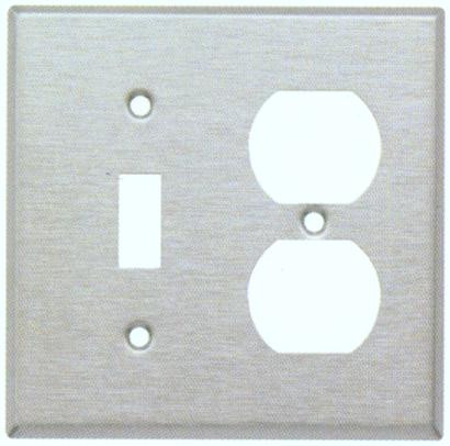 Stainless Steel Metal Wall Plates 2 Gang 1 Duplex 1 Toggle