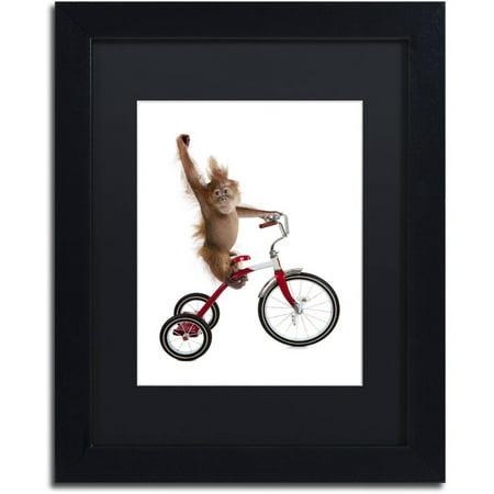 Trademark Fine Art 'Monkeys Riding Bikes #2' Canvas Art by J Hovenstine Studios, Black Matte, Black Frame