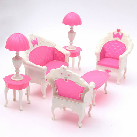 6PCS Dollhouse Furniture Living Room Parlour Sofa Chair Set Toys For Doll Pink