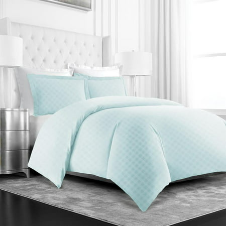 Noble Linens 3 Piece Duvet Hotel Collection Cover Set with Embossed Diamond Pattern ()