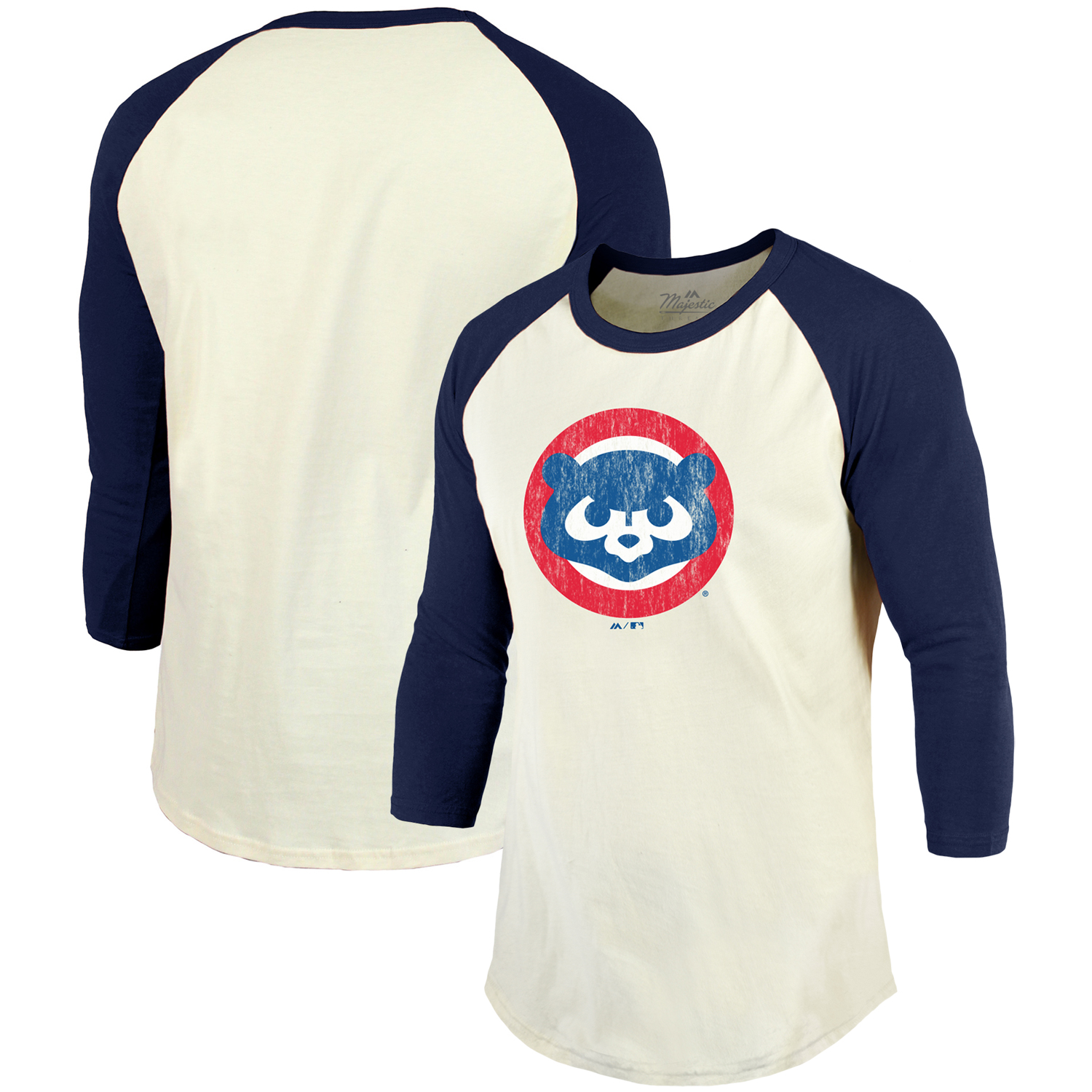 Chicago Cubs Majestic Threads Cooperstown Collection Raglan 3/4-Sleeve T-Shirt - Cream/Navy