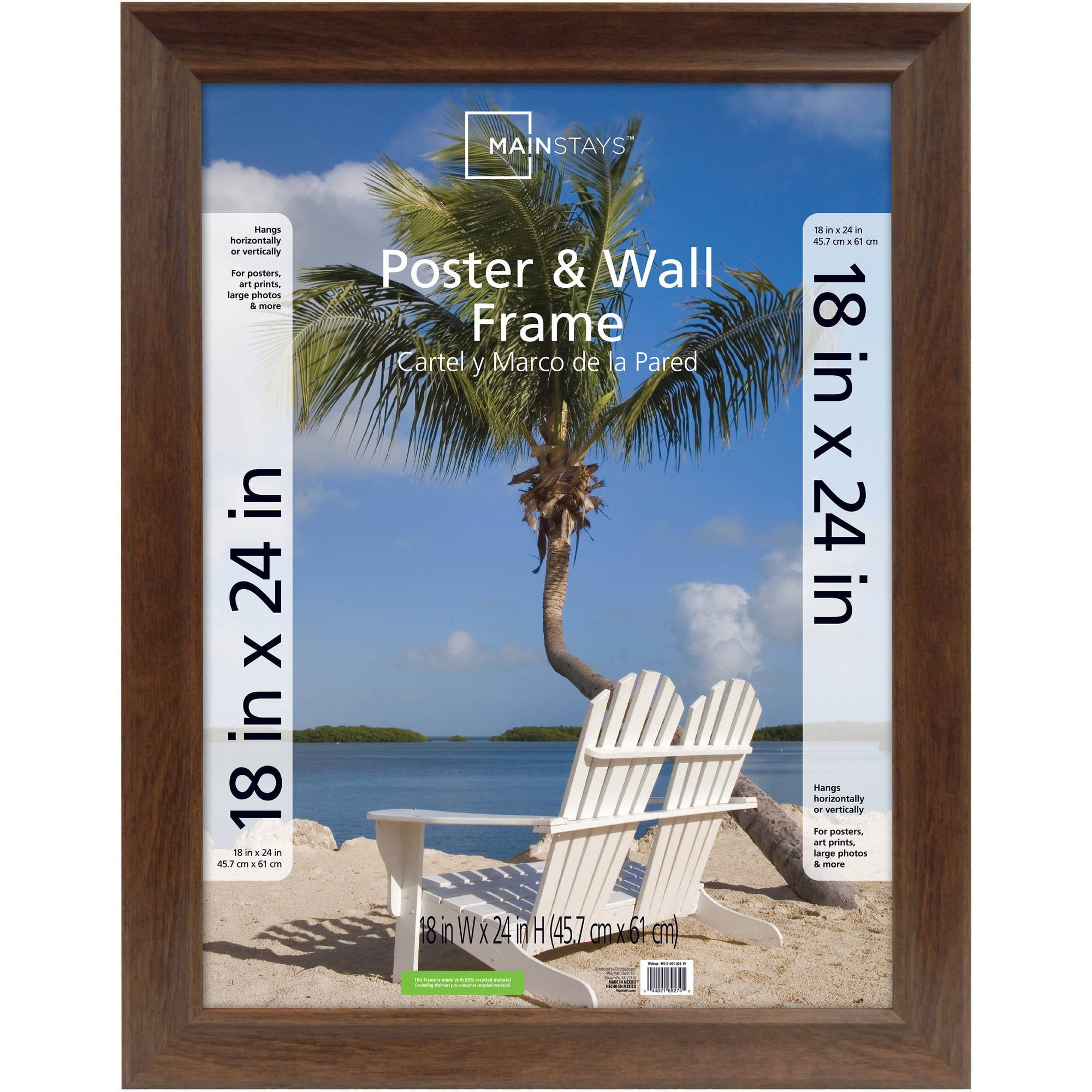 18x24 poster frames mainstays 18x24 wide walnut poster and picture frame jeuxipadfo Image collections