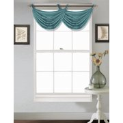 "(V24) TEAL 1PC Elegant Faux Silk Swag Waterfall Bronze Grommets Dressing Valance, 55"" X 24"" Inch"