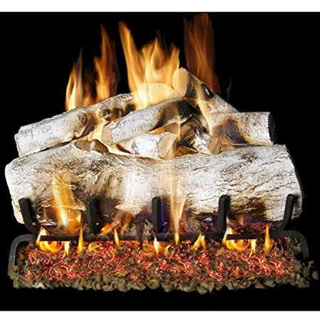 Peterson Real Fyre 30-inch Mountain Birch Log Set With Vented Natural Gas Ansi Certified G46 Burner - Variable Flame Remote
