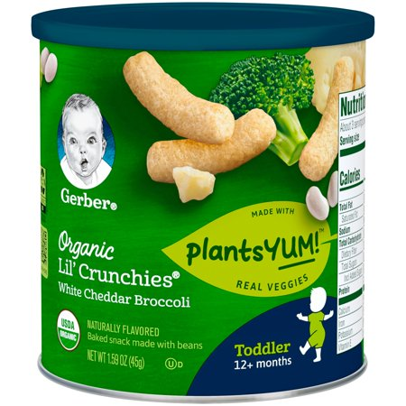 Gerber Lil' Crunchies Organic PlantsYum! Baked Snack Made with Beans, White Cheddar & Broccoli, 1.59 oz. (Pack of 6)