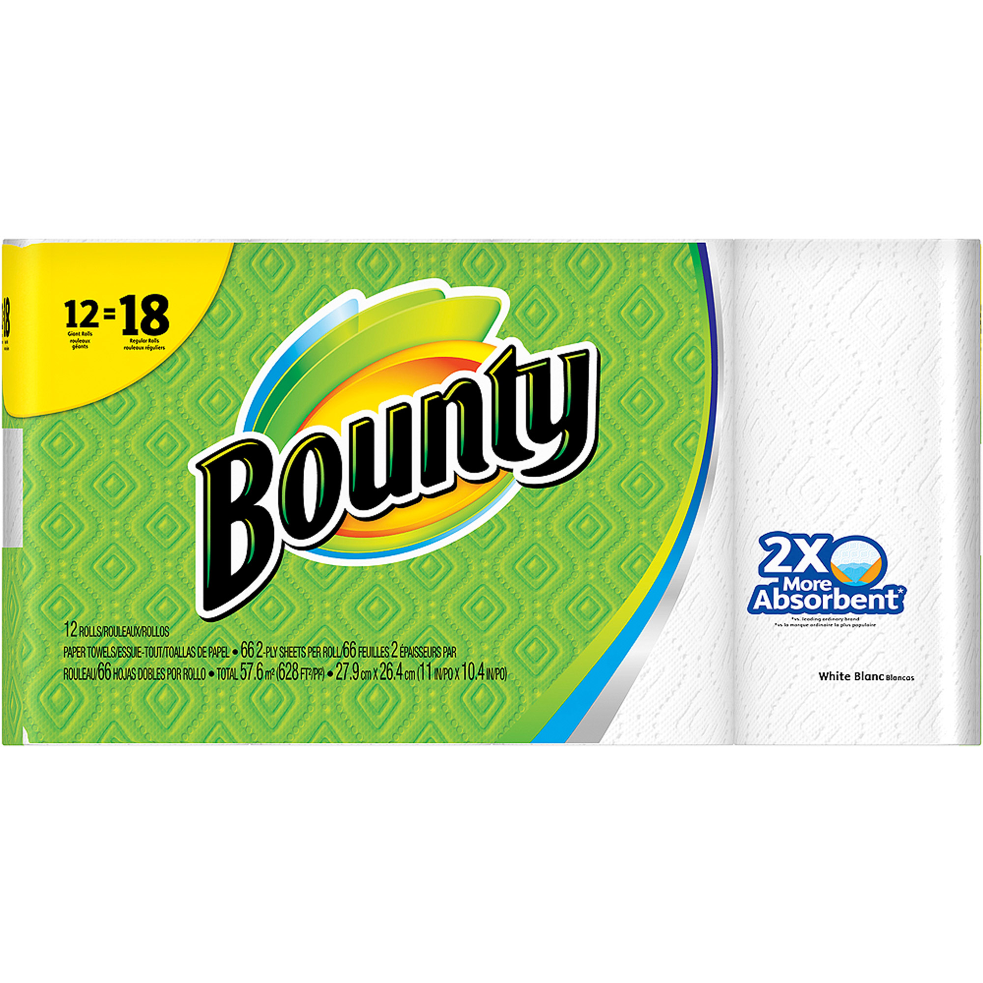 Bounty Paper Towels, White, 12 Giant Rolls