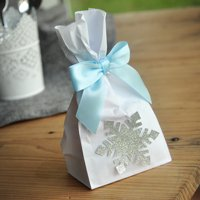 Frozen Party Favor Bags (Pack of 10). Silver Frozen Party Supplies. Mini Party Favor Bags with Snowflake and Bows. W36MFB.