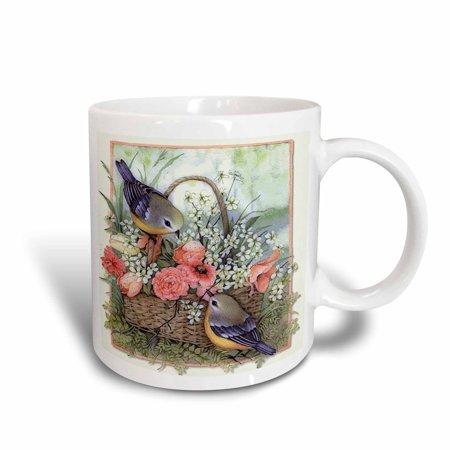 3dRose Pretty sparrows in a beautiful basket of roses , Ceramic Mug, 11-ounce