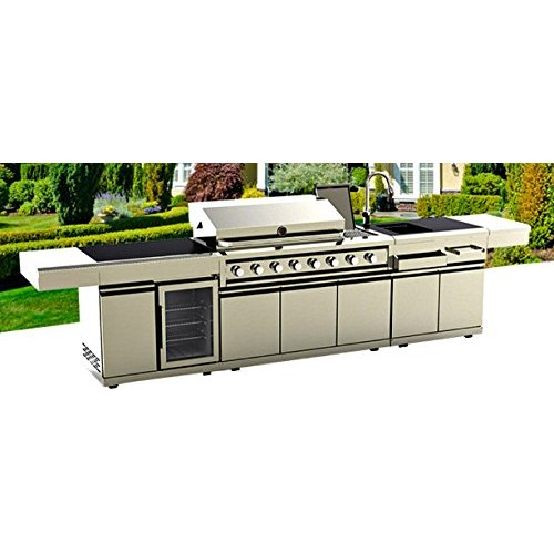 BBQ Gas Grill 12 Ft Island Outdoor 72,000 BTU 8 Burners Rotisserie Modular Sink Station Wine Cooler Fridge Stainless Steel Black Marble Top Canvass Cover Fuel LPG Model WP008BF