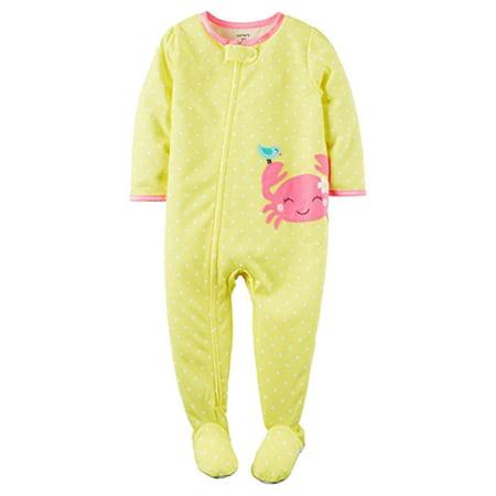 Carters Toddler Girls Yellow Polka Dot Footie Sleeper Crab Sleep & Play (Gold Polka Dot Pajamas)