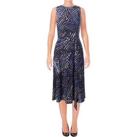 Printed Slinky Jersey Dress - Lauren by Ralph Lauren Women's Belted Printed Jersey Dress