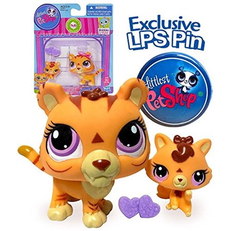 ff87539969df Littlest Pet Shop Mommy and Baby Orange Tiger Cat Collection Set with  Exclusive LPS Pin