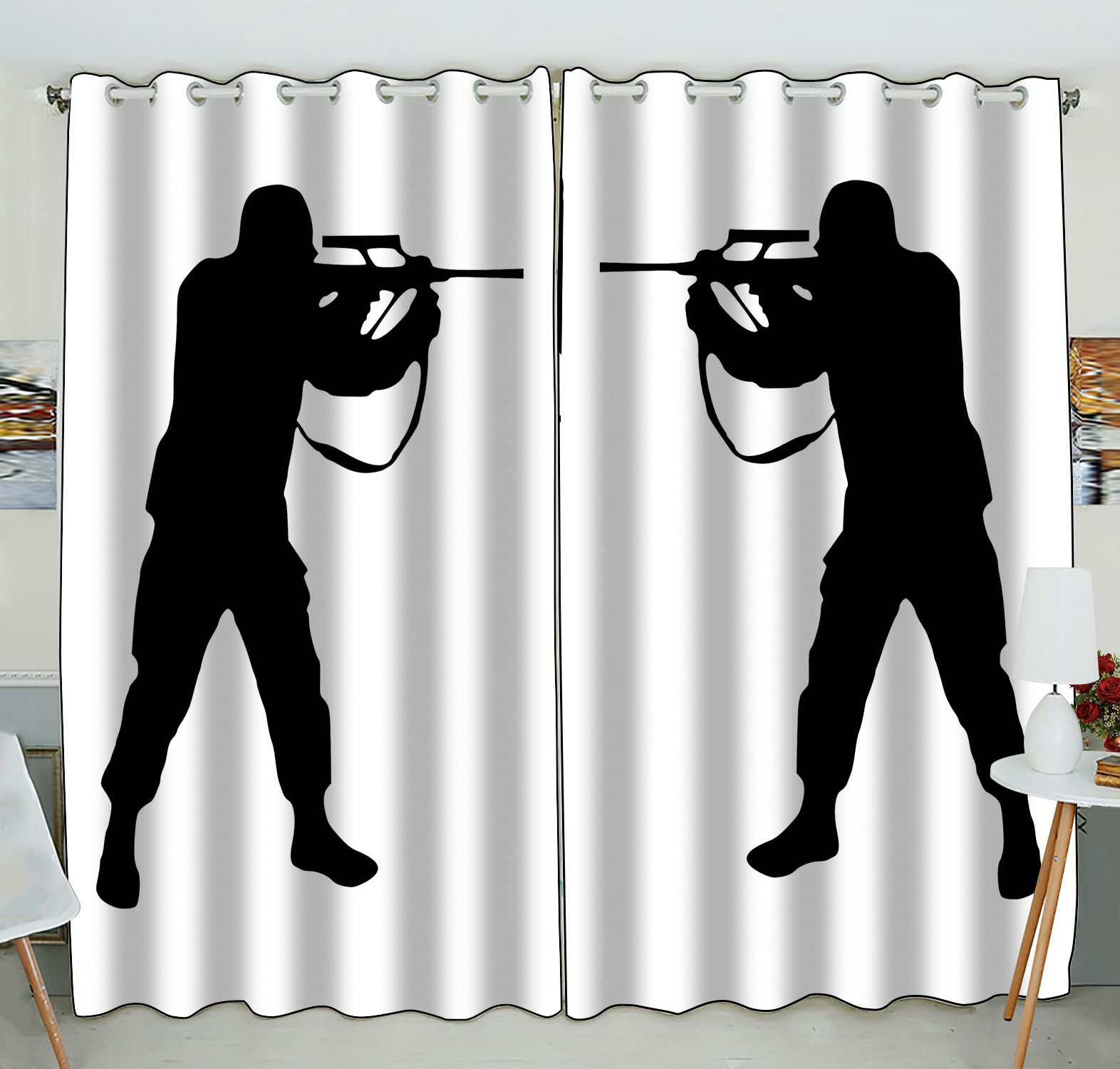 ZKGK Soldier Silhouettes Window Curtain Drapery/Panels/Treatment For Living Room Bedroom Kids Rooms 52x84 inches Two Panel