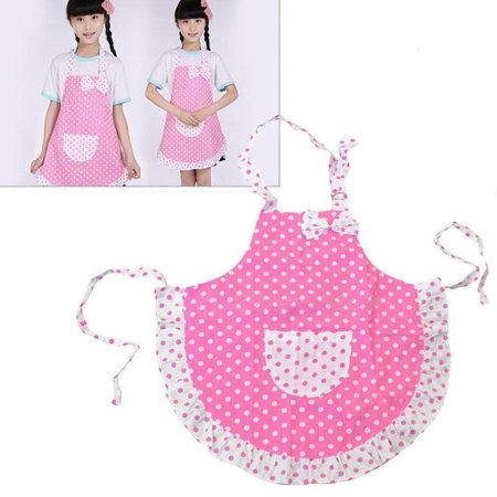 Cute Girl Kids Children Girls Bow Apron Adjustable Baking Party Polka Dot Kitchen Cook Tool