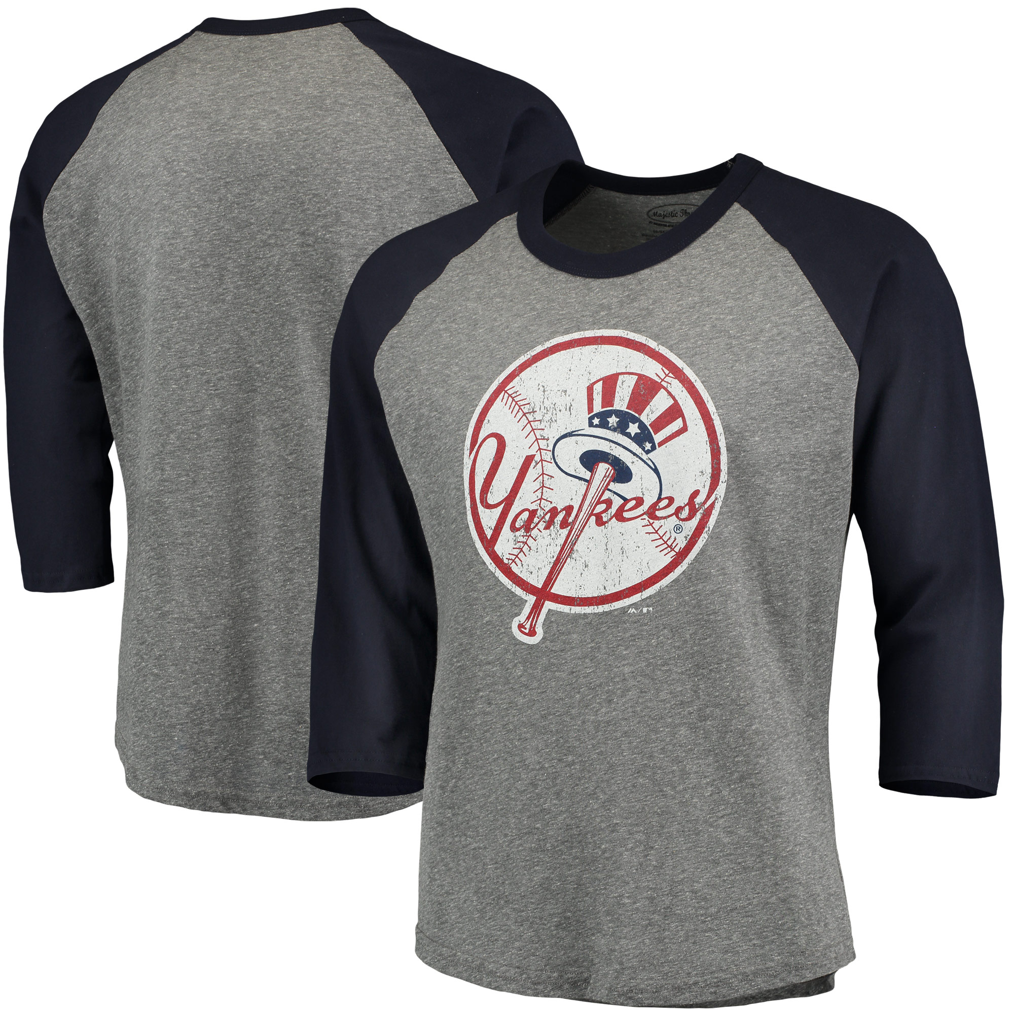 New York Yankees Majestic Threads Cooperstown Collection 3/4-Sleeve Raglan Tri-Blend T-Shirt - Heathered Gray/Navy