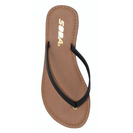 f333c7c85 Soda - Soda Shoes Women Flip Flops Basic Plain Sandals Strap Casual Beach  Thongs FELER Black 5.5 - Walmart.com