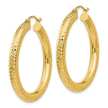 14K Yellow Gold Diamond Cut 4mm Round Hoop Earrings - image 2 de 3