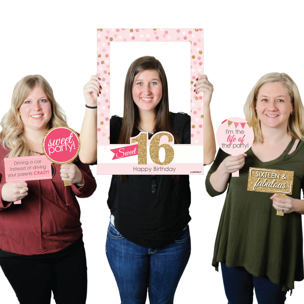 Sweet 16 Birthday Party Selfie Photo Booth Picture Frame Props