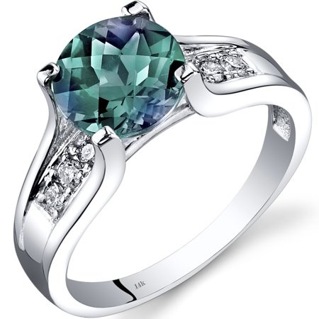 14k White Gold 2.25 Carats Created Alexandrite Diamond Cathedral Ring (14k June Birthstone Ring)