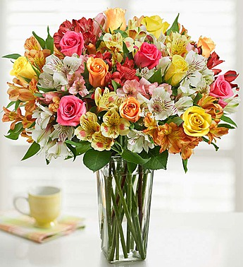 1-800-Flowers: Fresh Flowers - Assorted Roses & Peruvian Lilies Double Bouquet with Clear Vase