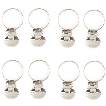 - 8PCS Stainless Steel Window Curtain Clip Hooks Drapery Rod Rings
