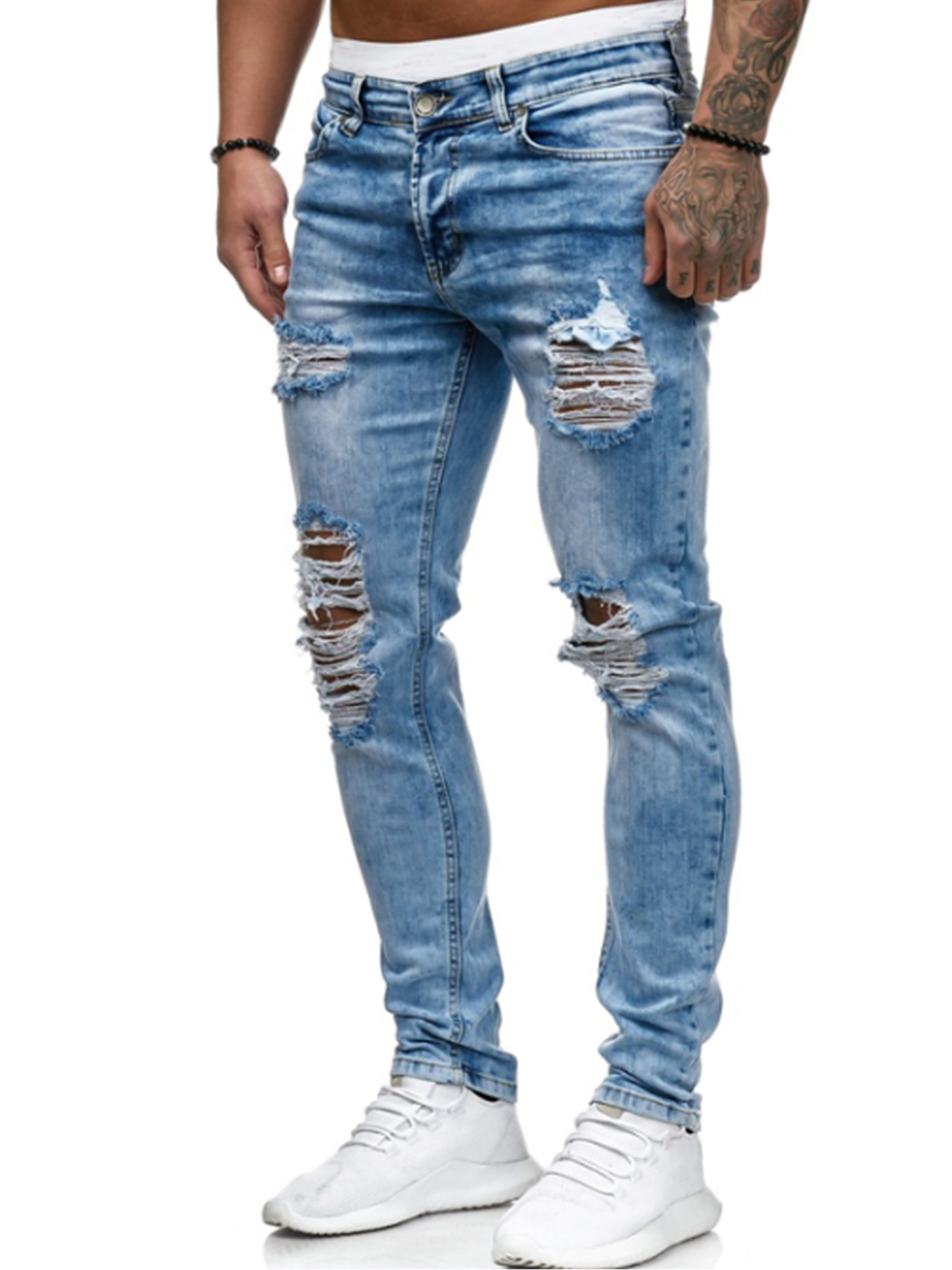 Mens 7 Series Supper Skinny Denim Fit Knee Ripped Jeans Stretchable Pants